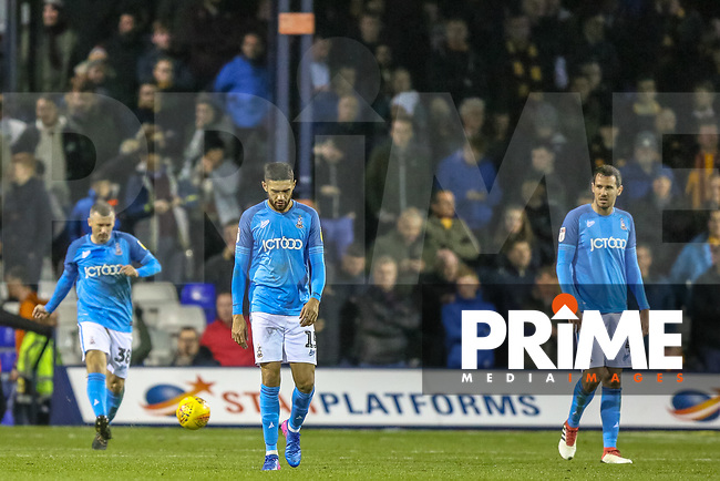 Kelvin Mellor and Ryan McGowan of Bradford City after conceding during the Sky Bet League 1 match between Luton Town and Bradford City at Kenilworth Road, Luton, England on 27 November 2018. Photo by Thomas Gadd.
