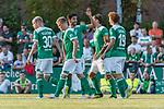 04.09.2018, Hoheellern-Stadion, Leer, GER, FSP, Werder Bremen (GER) vs FC Emmen (NED)<br /> <br /> DFL REGULATIONS PROHIBIT ANY USE OF PHOTOGRAPHS AS IMAGE SEQUENCES AND/OR QUASI-VIDEO.<br /> <br /> im Bild / picture shows<br /> Davy Klaassen (Werder Bremen #30) bejubelt seinen Treffer zum 1:1 mit Teamkollegen, Nuri Sahin (Werder Bremen #17), Max Kruse (Werder Bremen #10), Thore Jacobsen (Werder Bremen #36), Joshua Sargent (Werder Bremen #19), <br /> <br /> Foto © nordphoto / Ewert
