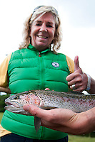 County Mayo, Ireland, June 2010. Jillian catches her first Trout with a fly at  Mount Falcon. The Luxury 4 star Mount Falcon Country House Hotel in Mayo is located on the west bank of the River Moy, 100 acres of magical woodlands, between Foxford and Ballina, in North County Mayo, a most beautiful part of the West of Ireland. Mount Falcon's new owners, amongst them the Maloney Family, who hail from the area, visited the Estate and fell in love with it. As the new owners, they have invested heavily in a refurbishment and development programme, and have at every stage ensured that the integrity and charm of the Estate has been completely retained. For centuries, Ireland has offered the greatest sport fishing to anglers. Several traditional houses offer accomodation and fishing in style, under the name 'The Great Fishing Houses of Ireland'.  Each of the houses has access to superb fishing. Some offer private, exclusive waters, while others are located on the great free lakes of Ireland. Photo by Frits Meyst/Adventure4ever.com