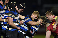Bath United forwards pack down for a scrum. Aviva A-League match, between Bath United and Harlequins A on March 26, 2018 at the Recreation Ground in Bath, England. Photo by: Patrick Khachfe / Onside Images
