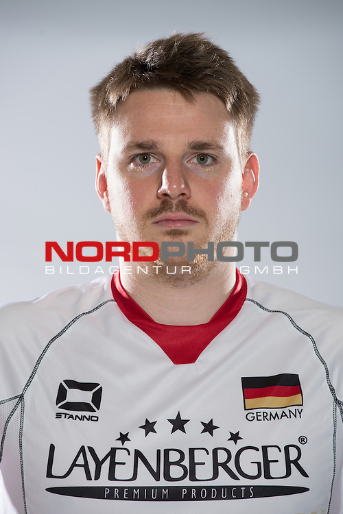 24.05.2015, Sportzentrum Westenfeld, Bochum<br /> Volleyball, Fotoshooting Nationalmannschaft MŠnner / Maenner<br /> <br /> Markus Steuerwald (#2 GER)<br /> <br />   Foto &copy; nordphoto / Kurth