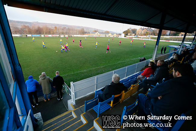 Stocksbridge work the ball back to the keeper, in front of Jamie Vardy Stand. Stocksbridge Park Steels v Pickering Town, Evo-Stik East Division, 17th November 2018. Stocksbridge Park Steels were born from the works team of the local British Steel plant that dominates the town north of Sheffield.<br />