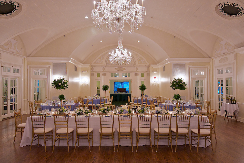 Room shot set for the reception at Apawamis Country Club in Rye, NY