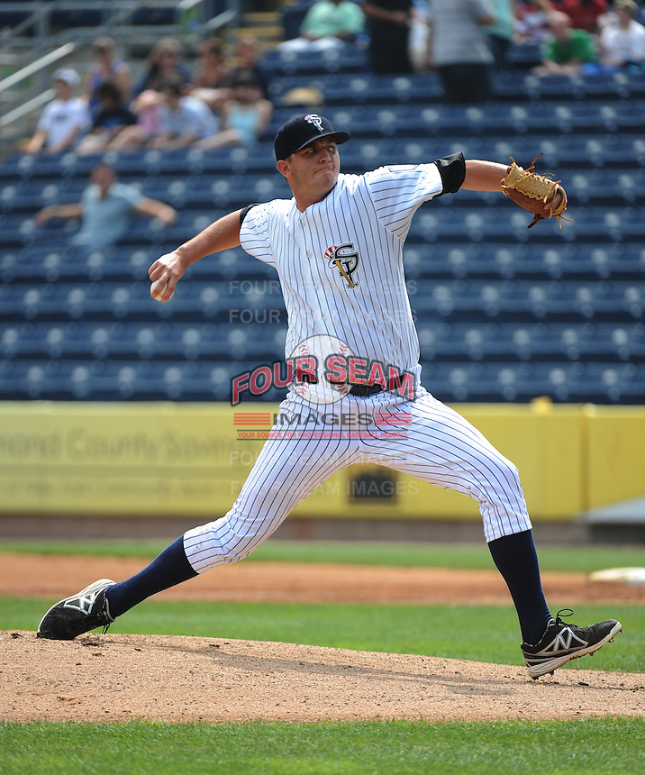 Staten Island Yankees pitcher David Palladino (62) during game against the Mahoning Valley Scrappers at Richmond County Bank Ballpark at St.George on July 22, 2013 in Staten Island, NY.  Mahoning Valley defeated Staten Island 8-2.  Tomasso DeRosa/Four Seam Images