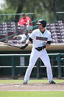 Jared Walsh (21 of the Inland Empire 66ers bats against the Visalia Rawhide at San Manuel Stadium on June 5, 2017 in San Bernardino, California. Visalia defeated Inland Empire, 9-1. (Larry Goren/Four Seam Images)