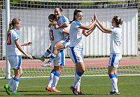 20180307 - LARNACA , CYPRUS :  Czech team pictured celebrating the quick 0-1 lead during a women's soccer game between  Slovakia and the Czech Republic , on Wednesday 7 March 2018 at the GSZ Stadium in Larnaca , Cyprus . This is the final game in a decision for 9 th or 10 th place of the Cyprus Womens Cup , a prestigious women soccer tournament as a preparation on the World Cup 2019 qualification duels. PHOTO SPORTPIX.BE | DAVID CATRY