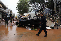 Pictured: A pile of cars in the middle of the road.<br /> Re: Five people have reportedly died and severe damage caused by heavy rain and flash flooding in the area of Mandra, near Athens, Greece. Wednesday 15 November 2017