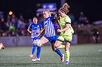 Allston, MA - Sunday, April 24, 2016: Boston Breakers midfielder Kristie Mewis (19) and Seattle Reign FC defender Rachel Corsie (4). The Boston Breakers play Seattle Reign during a regular season NSWL match at Harvard University.