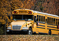 School bus on rural autumn route.