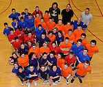 Participants at the  St. Paul's Basketball Club Easter Camp in 2011 with American basketball coach Ed Hoffman. The camp will take place at the Killarney Sports and Leisure Centre on April 3, 4 and  5.  Picture: Eamonn Keogh  (MacMonagle, Killarney).