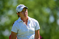 Sandra Changkija (USA) watches her tee shot on 18 during Saturday's round 3 of the 2017 KPMG Women's PGA Championship, at Olympia Fields Country Club, Olympia Fields, Illinois. 7/1/2017.<br /> Picture: Golffile | Ken Murray<br /> <br /> <br /> All photo usage must carry mandatory copyright credit (&copy; Golffile | Ken Murray)