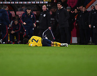 27th January 2020; Vitality Stadium, Bournemouth, Dorset, England; English FA Cup Football, Bournemouth Athletic versus Arsenal; Héctor Bellerín of Arsenal lies injured on the pitch late in the game