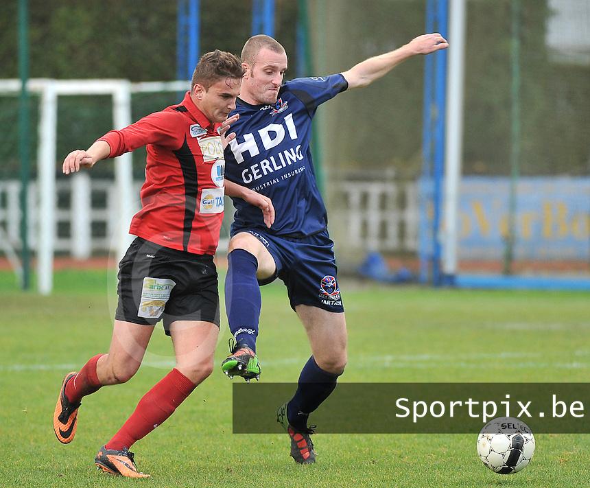 KFC Izegem - FC Dender  : duel tussen Nicky Hayen (rechts) en Marijn Vandewalle (links)<br /> foto VDB / Bart Vandenbroucke