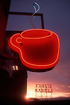 Seattle, Pike Place Market, Coffee and Seattle. Historical, Seattle's Best Coffee's famous neon coffee cup. Removed in 2013