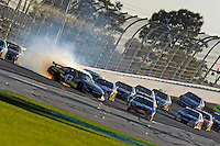 14 February, 2010, Daytona Beach, Florida USA USA.A.J. Allmendinger (#43) spins in front of Kyle Busch (#18) after hitting the wall exiting turn 2..©F. Peirce Williams 2010 USA.