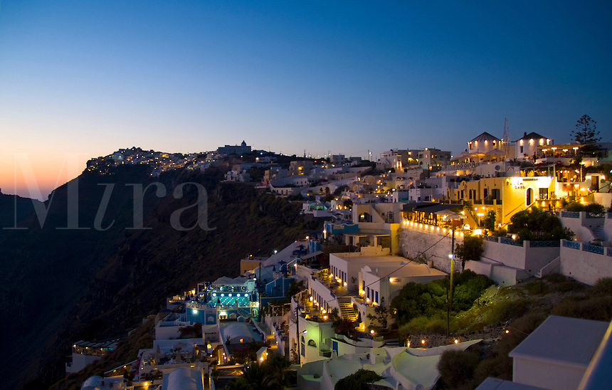 Buildings on the mountain cliffs of the small isolated town of Fira, Santorini, Greece