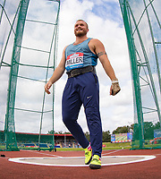 Nick Miller of GBR smiles after his throw in the Hammer Throw during the Muller Grand Prix Birmingham Athletics at Alexandra Stadium, Birmingham, England on 20 August 2017. Photo by Andy Rowland.