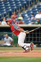 Clearwater Threshers third baseman Harold Martinez (11) at bat during a game against the Dunedin Blue Jays on July 1, 2014 at Bright House Field in Clearwater, Florida.  Dunedin defeated Clearwater 1-0.  (Mike Janes/Four Seam Images)