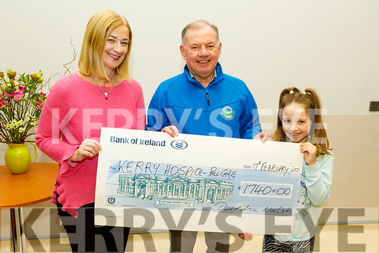"""Deirdre Walsh presents the sum of €1,740, proceeds from the """"Poems from the Pulpit"""" which was held in St Johns Listowel last November for Kerry Hospice Palliative Care at the unit on Monday.<br /> L to r: Deirdre Walsh, Joe Hennebry and Olivia Creen."""