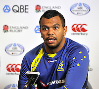 Twickenham, England .Kurtley Beale of Australia during the Australia training and Media session during the England captains run for the QBE Internationals England v Australia at Twickenham Stadium on 17 November. Twickenham, England, November 16. 2012.