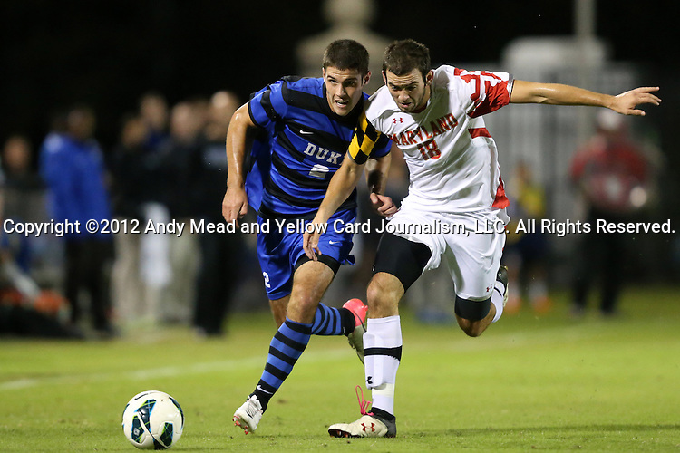 12 October 2012: Duke's Will Donovan (2) and Maryland's Dakota Edwards (18). The University of Maryland Terrapins defeated the Duke University Blue Devils 2-1 at Koskinen Stadium in Durham, North Carolina in a 2012 NCAA Division I Men's Soccer game.