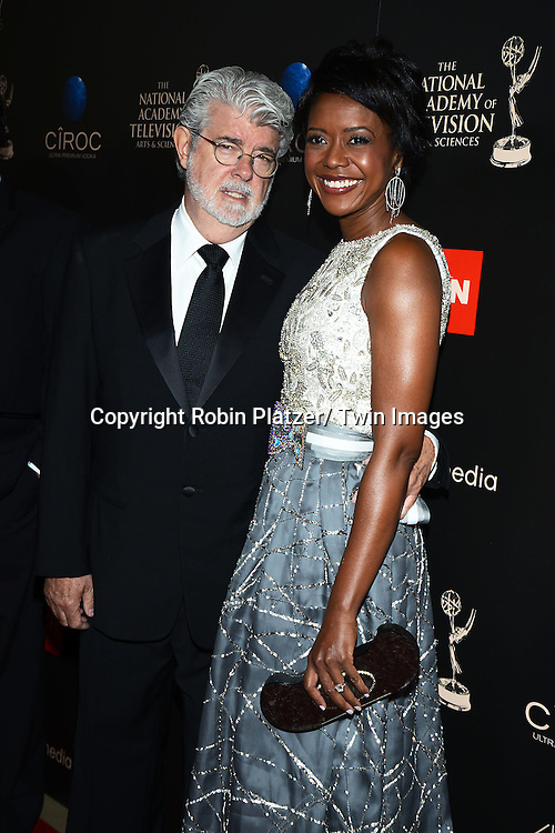 George Lucas and Mellody Hobson attends The 40th Annual Daytime Emmy Awards on<br />  June 16, 2013 at the Beverly Hilton Hotel in Beverly Hills, California.