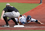 February 22, 2013: Nevada Wolf Pack runner Kyle Hunt is taged out by Northern Illinois Huskies first baseman Jeff Zimmerman during their NCAA baseball game played at Peccole Park on Friday afternoon in Reno, Nevada.