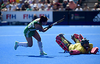 Spain's Maria Ruiz battles with Ireland's Anna O'Flanagan<br /> <br /> Photographer Hannah Fountain/CameraSport<br /> <br /> Vitality Hockey Women's World Cup - Ireland v Spain - Saturday 4th August 2018 - Lee Valley Hockey and Tennis Centre - Stratford<br /> <br /> World Copyright &copy; 2018 CameraSport. All rights reserved. 43 Linden Ave. Countesthorpe. Leicester. England. LE8 5PG - Tel: +44 (0) 116 277 4147 - admin@camerasport.com - www.camerasport.com