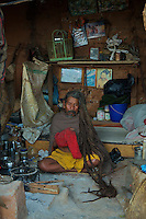 Sadhu living Quarters at the Shambhu Nath Hindu traditional Cremation Area, Kathmandu, Nepal