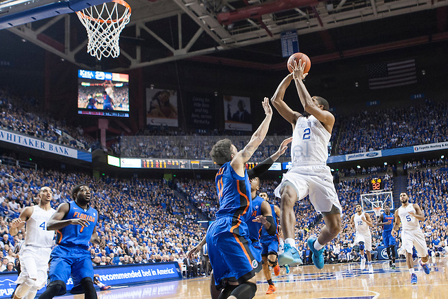 Guard Aaron Harrison of the Kentucky Wildcats shoots a layup during the game against the Florida Gators at Rupp Arena on Saturday, March 7, 2015 in Lexington, Ky. Kentucky leads Florida 30-27 at the half. Photo by Michael Reaves | Staff.