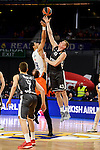 Real Madrid's Gustavo Ayon and Brose Bamberg's Leon Radosevic during Turkish Airlines Euroleague between Real Madrid and Brose Bamberg at Wizink Center in Madrid, Spain. December 20, 2016. (ALTERPHOTOS/BorjaB.Hojas)