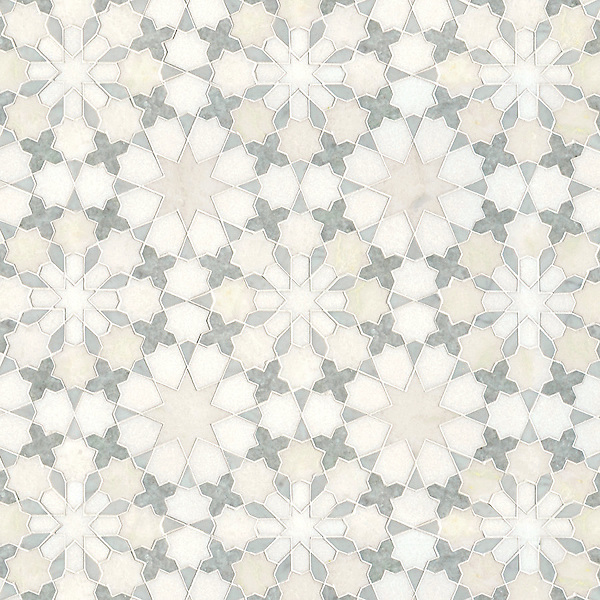 Granada, a waterjet stone mosaic, shown in honed Heavenly Cream and polished Ming Green, Cloud Nine, Carrara and Thassos, is part of the Miraflores Collection by Paul Schatz for New Ravenna.<br />