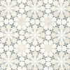 Granada, a waterjet stone mosaic, shown in honed Heavenly Cream and polished Ming Green, Cloud Nine, Carrara and Thassos, is part of the Miraflores Collection by Paul Schatz for New Ravenna.<br /> <br /> <br /> For pricing samples and design help, click here: http://www.newravenna.com/showrooms/