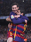 14.02.2016 Camp Nou, Barcelona, Spain. La Liga day 24. Match between FCBarcelona and Celta de Vigo. Picture show Luis Suarez and Leo Messi after score