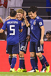 Doan Ritsu of Japan (C) celebrates after scoring his goal with teammates during the AFC Asian Cup UAE 2019 Quarter Finals match between Vietnam (VIE) and Japan (JPN) at Al Maktoum Stadium on 24 January 2018 in Dubai, United Arab Emirates. Photo by Marcio Rodrigo Machado / Power Sport Images