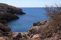 Giannutri is an island near the promontory of Argentario, in the province of Grosseto, in Toscana. Here a little desert cove, with typical rocky walls, in a sunny summer day.  The water of the calm sea appears definitely dark blue with respect to the sky.