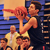 Greg Giordano #5 of Smithtown West takes a pass during a Suffolk County varsity boys basketball game against host Copiague High School on Thursday, Feb. 2, 2017. Smithtown West won by a score of 78-59.