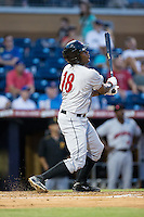 Josh Bell (18) of the Indianapolis Indians follows through on his swing against the Durham Bulls at Durham Bulls Athletic Park on August 4, 2015 in Durham, North Carolina.  The Indians defeated the Bulls 5-1.  (Brian Westerholt/Four Seam Images)
