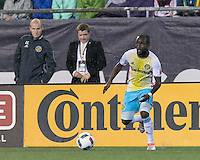 Foxborough, Massachusetts - July 9, 2016: In a Major League Soccer (MLS) match, the New England Revolution (blue/white) defeated Columbus Crew (yellow/white/blue), 3-1,at Gillette Stadium.