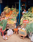 PERU, Amazon Rainforest, South America, Latin America, fruit and vegetables displayed at market stall in Puerto Maldonado