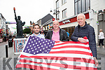 Ollie Favier,  Dermot Healy and Diarmuid Leen getting Killarney decorated for the 4th July celebrations on Monday evening