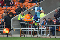 Matt Bloomfield enters the field of play for the 400th time for Wycombe Wanderers during the Sky Bet League 2 match between Blackpool and Wycombe Wanderers at Bloomfield Road, Blackpool, England on 20 August 2016. Photo by James Williamson / PRiME Media Images.