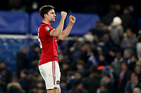 30th October 2019; Stamford Bridge, London, England; English Football League Cup, Carabao Cup, Chelsea Football Club versus Manchester United; Harry Maguire of Manchester Utd celebrates the 1-2 win - Strictly Editorial Use Only. No use with unauthorized audio, video, data, fixture lists, club/league logos or 'live' services. Online in-match use limited to 120 images, no video emulation. No use in betting, games or single club/league/player publications