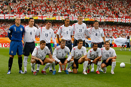 Jun 15, 2006; Nuremberg, GERMANY; The starting eleven for England pose prior to the match against Trinidad and Tobago in 1st round group B action of the 2006 FIFA World Cup at Franken-Stadion Nuremberg. Front row: Midfielder (4) Steven Gerrard, midfielder (7) David Beckham, midfielder (11) Joe Cole, defender (3) Ashley Cole and forward (10) Michael Owen, Back row: Goalkeeper (1) Paul Robinson, defender (6) John Terry, defender (15) Jamie Carragher, defender (5) Rio Ferdinand, forward (21) Peter Crouch and midfielder (8) Frank Lampard. Mandatory Credit: Ron Scheffler-US PRESSWIRE Copyright © Ron Scheffler