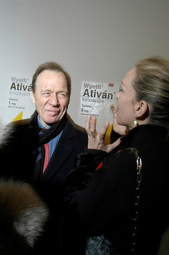 art critic Anthony Hayden-Guest at Damien Hirst opening at Gagosian Gallery, New York City, 2005