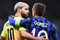 6th November 2019, Milan, Italy; UEFA Champions League football, Atalanta versus Manchester City; Sergio Aguero consoles Alejandro Gomez after the end of the game