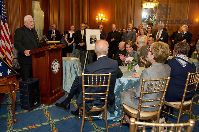 May 22, 2013; Emeritus Rev. Theodore M. Hesburgh, C.S.C. speaks during a special reception celebrating his 96th birthday, hosted by House Democratic leader Nancy Pelosi in the Rayburn Room of the U.S. Capitol. The reception was also held to a honor his 70th anniversary as a priest of the Congregation of Holy Cross. Photo by Barbara Johnston/University of Notre Dame