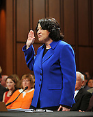 Washington, DC - July 13, 2009 -- Judge Sonia Sotomayor is sworn-in to give testimony before the United States Senate Judiciary Committee on her nomination as Associate Justice of the U.S. Supreme Court on Monday, July 13, 2009..Credit: Ron Sachs / CNP