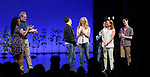 Kristolyn Lloyd, Michael Park, Jennifer Laura Thompson, Laura Dreyfuss, Rachel Bay Jones and Ben Levi Ross with Taylor Trensch takes his bows as the newest Evan in 'Dear Evan Hansen' on Broadway at the Music Box Theatre on February 6, 2018 in New York City.