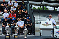 Verizon IndyCar Series<br /> Indianapolis 500 Drivers Meeting<br /> Indianapolis Motor Speedway, Indianapolis, IN USA<br /> Saturday 27 May 2017<br /> Brian Barnhart speaks.<br /> World Copyright: F. Peirce Williams